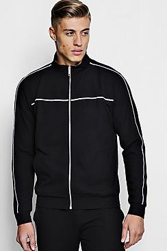 Crepe Piped Detail Smart Track Top Co-Ord