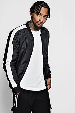 Bomber Jacket with Side Stripe