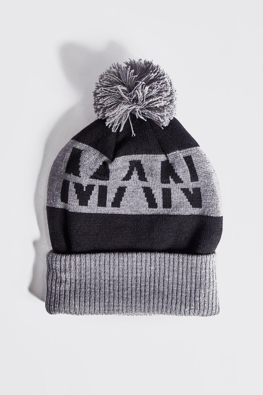Купить Hats, Вязаная шапка с помпоном с надписью MAN, boohoo