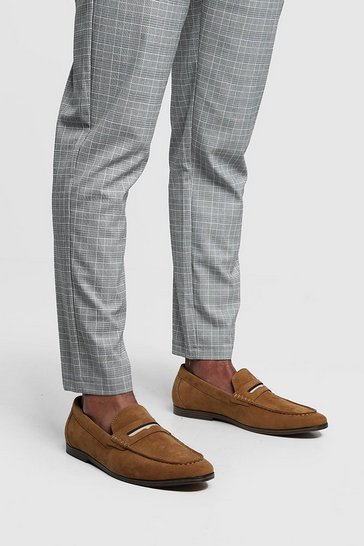 Tan Faux Suede Tape Detail Loafer