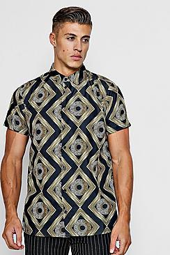 Baroque Tile Print Short Sleeve Shirt