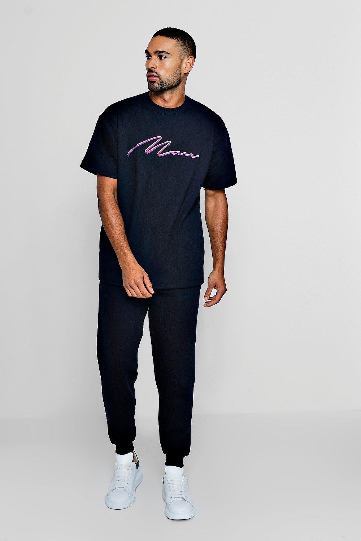 Купить Tracksuits, Сет из футболки с фирменной вышивкой Man и свободных брюк для бега, boohoo