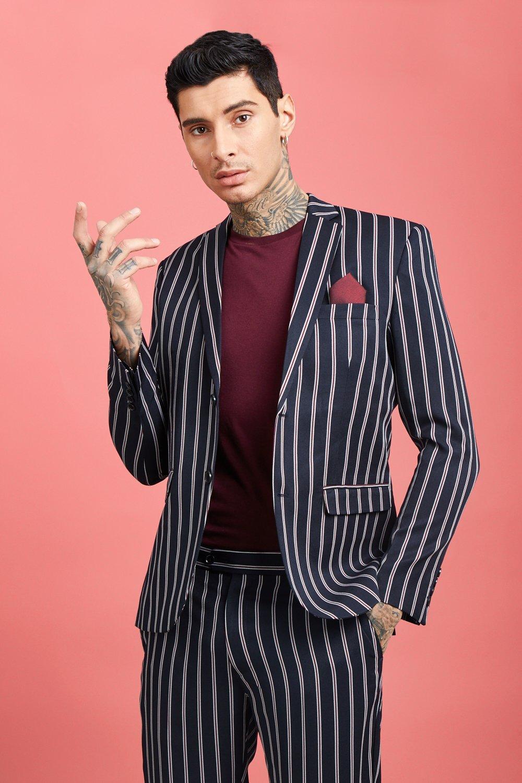 Купить Tailoring, Wide Set Stripe Skinny Fit Suit Jacket, boohoo