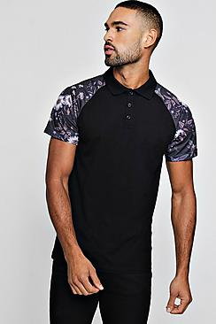 Raglan Polo With Bird Print