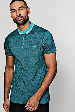 Two Tone Pique Polo With Jacquard Collar