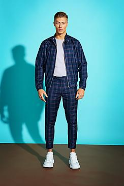 Blue Bold Check Harrington Jacket
