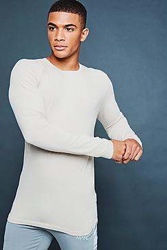 Maglietta taglio sagomato con maniche lunghe e stampa riflettente