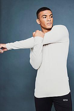 Maglietta taglio sagomato a maniche lunghe con particolari riflettenti