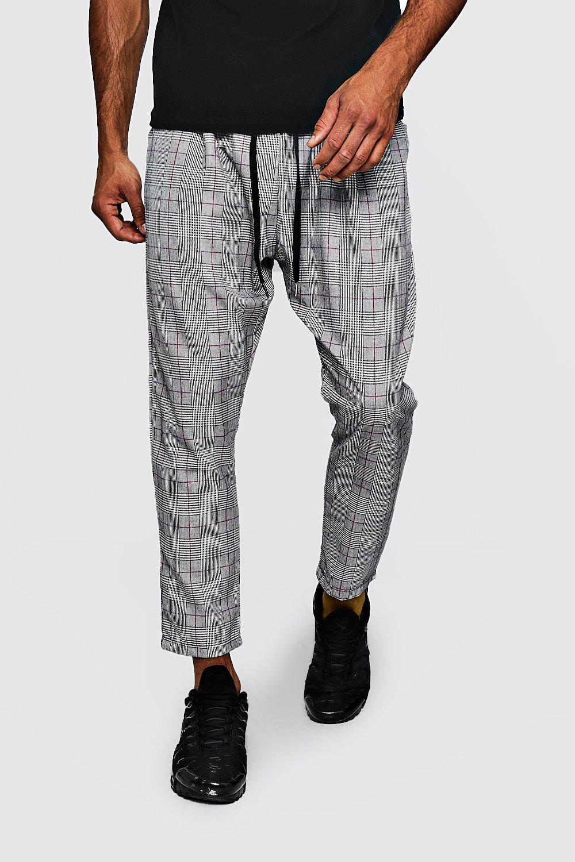 Купить Trousers, Брюки для бега в клетку из ткани и красный в полоску, boohoo