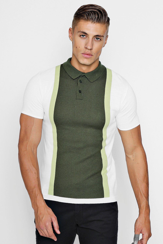 Купить Polos and Rugby Shirts, Трикотажная футболка поло с короткими рукавами и цветными вставками, boohoo