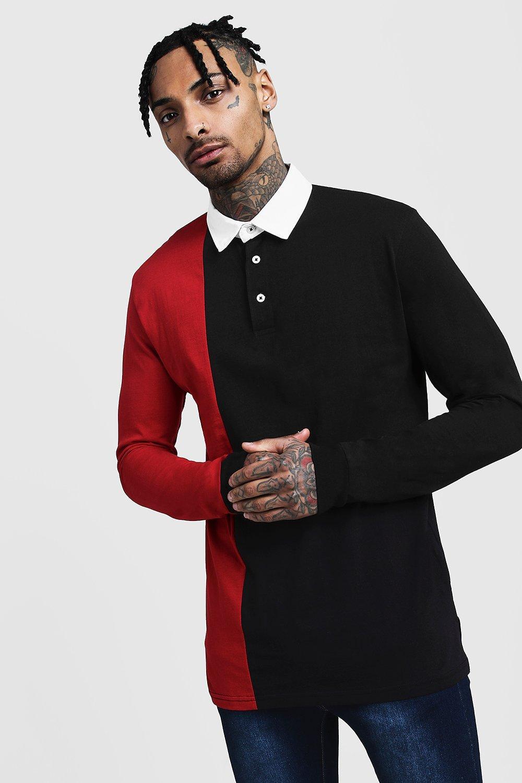 Купить Casual Tops, Рубашка поло в стиле регби со вставками с цветными вставками и разрезом, boohoo