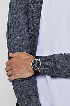 Orologio con quadrante di design e cinturino in poliuretano