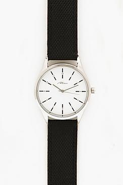 Orologio con cinturino in tela in bianco e nero