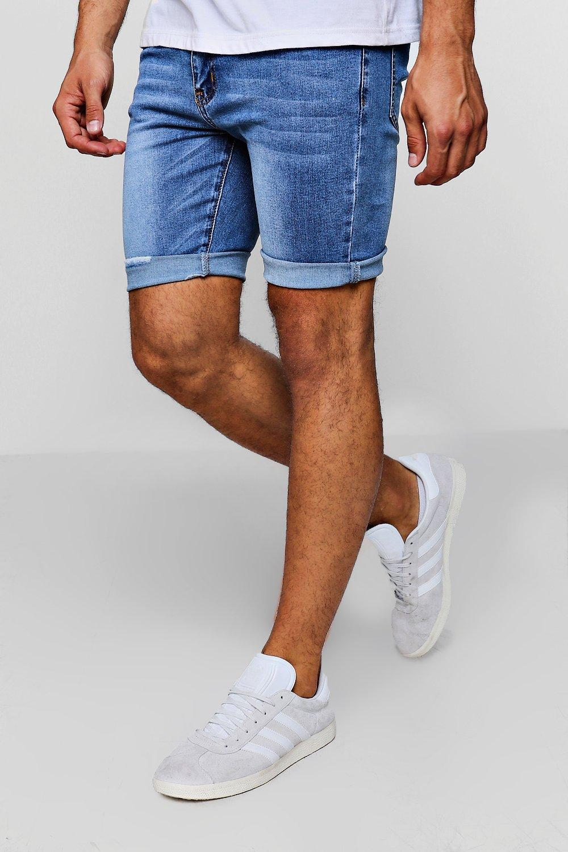 Купить Super Skinny Mid Blue Denim Shorts, boohoo