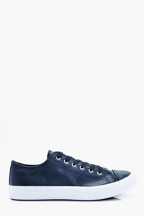 Lace Up Faux Leather Plimsole