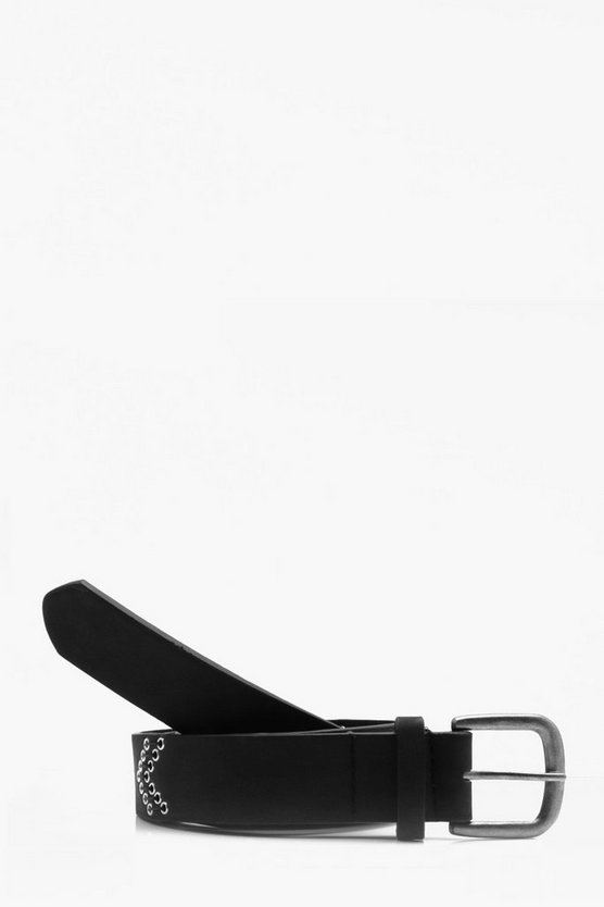 Matt Faux leather Belt With Eyelets