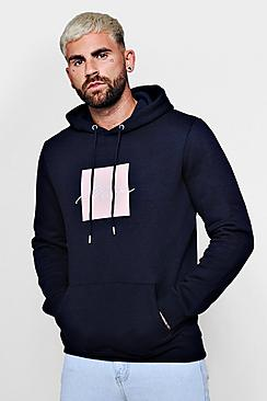 Box Print Hoodie With Man Embroidery