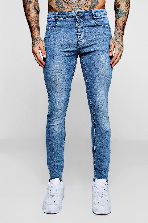Купить Jeans, Суперузкие джинсы из светло-голубого денима, boohoo