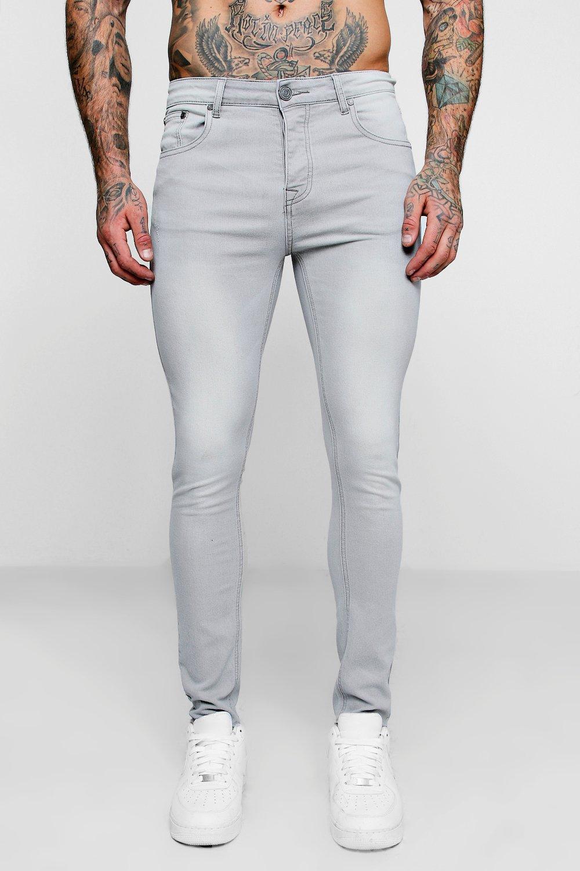 Купить Jeans, Суперузкие джинсы из светло-серого денима, boohoo