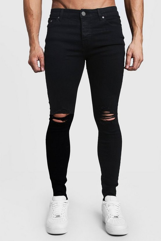 Spray On Skinny Jeans With Ripped Knees by Boohoo