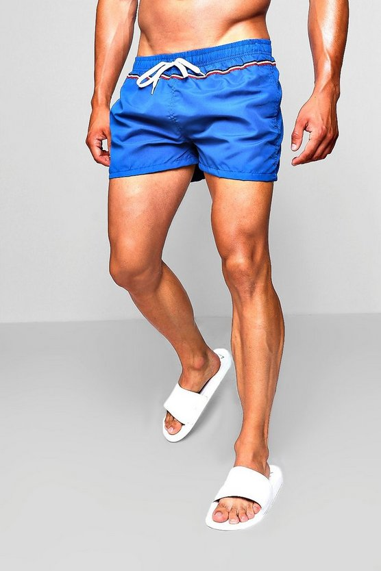 Short Length Swim Short With Sports Stripe