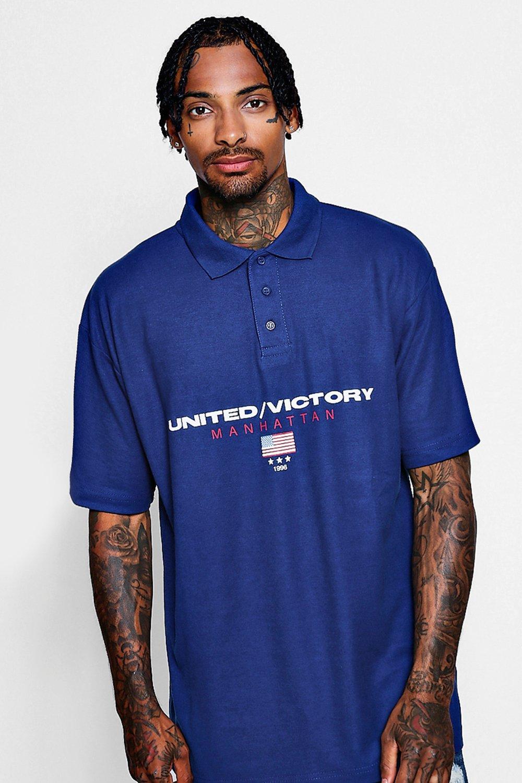 Купить Polos and Rugby Shirts, Американская рубашка-поло свободного кроя с надписью <Manhattan>, boohoo