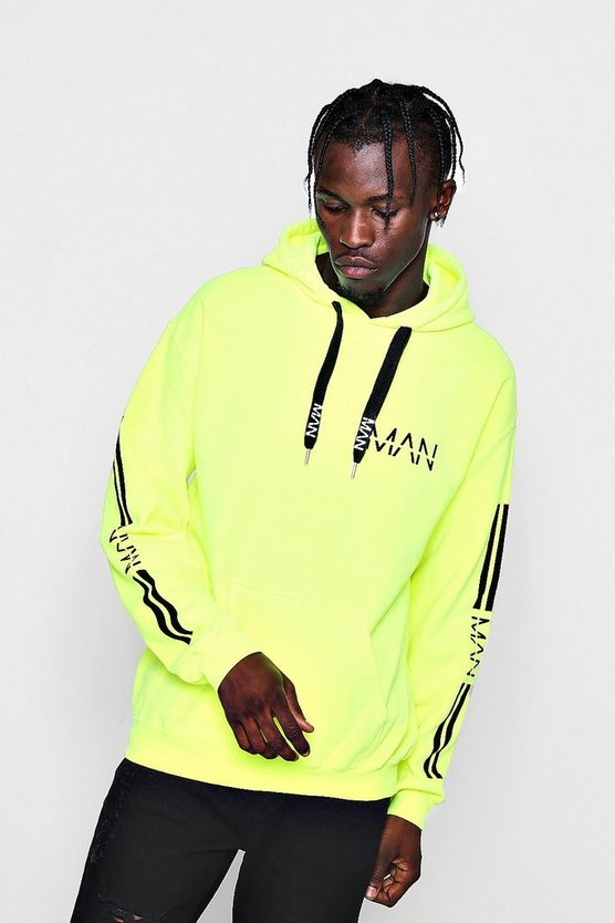 Neon Sleeve Printed Hoodie with MAN Drawcords