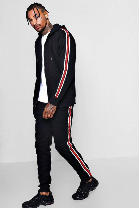 Zip Through Hooded Tracksuit With Side Taping
