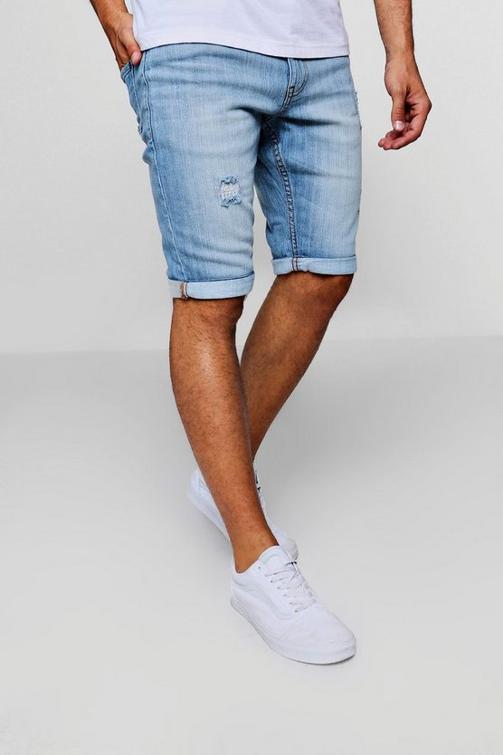 Slim Fit Denim Shorts With Light Distressing