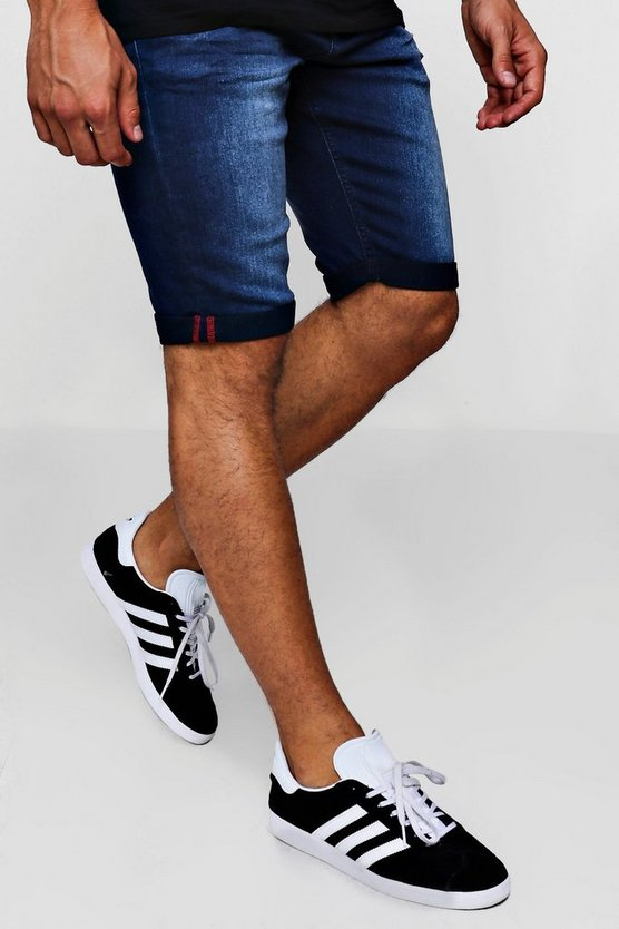 Slim Fit Denim Short With Turn Up