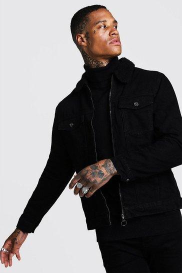 Black Zip Through Borg Collar Denim Jacket
