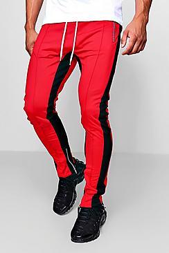 Pantaloni jogging a blocchi colore taglio skinny fit tricot MAN
