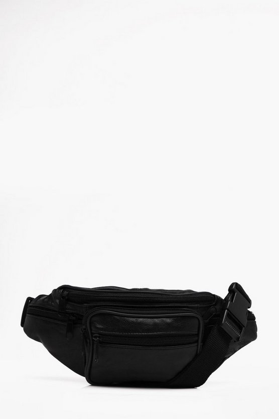 Front Square Pocket Real Leather Bumbag