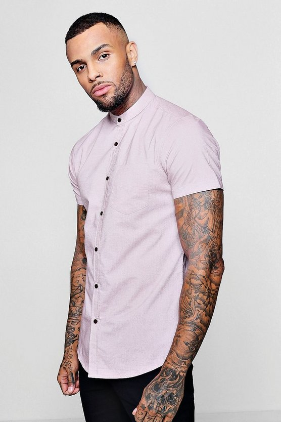 Short Sleeve Grandad Shirt In Muscle Fit