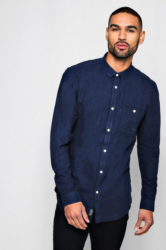 Linen Cotton Blend Long Sleeve Shirt