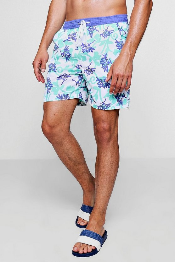 Leaf Print Mid Length Swim Short