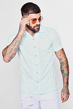 Camicia a maniche corte con colletto risvoltato e stampa di foglie