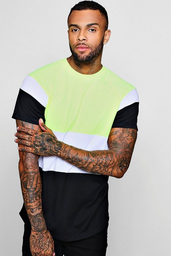 Longline Colour Block Raglan T-Shirt