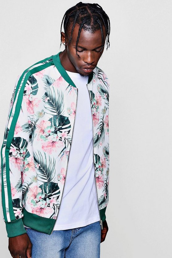 Botanical Print Taped Bomber Jacket