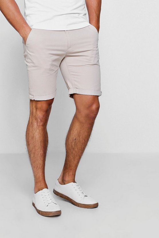 Stone Chino Short With Turn Up Hem