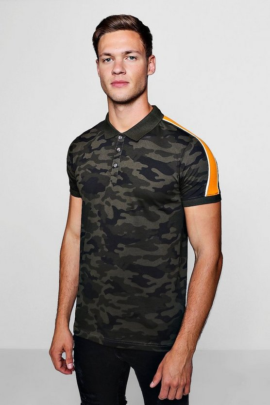 Camo Polo With Contrast Panel