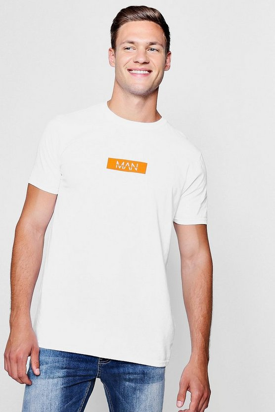 MAN Orange Box Logo Print T-Shirt