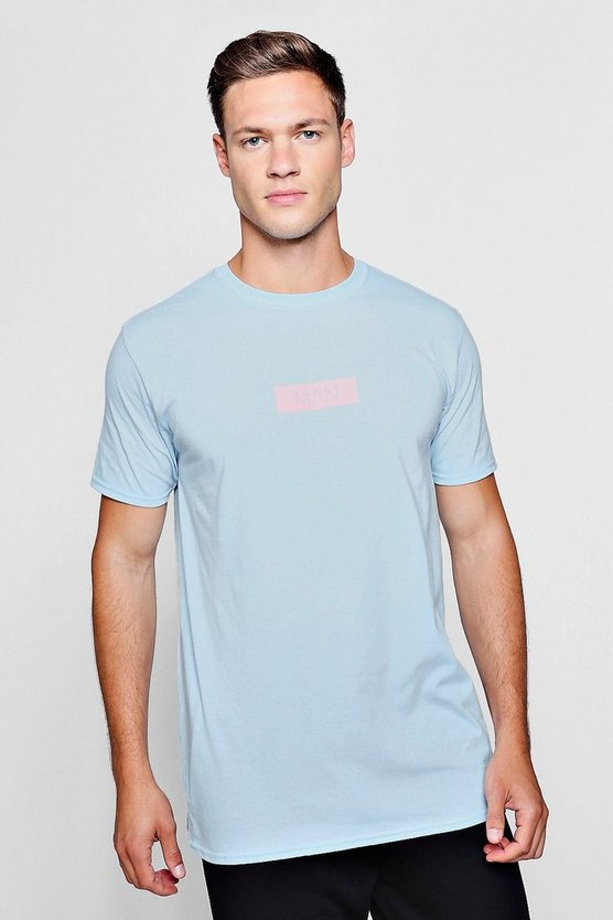 MAN Pink Box Logo Print T-Shirt