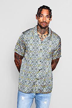 Aztec Print Sateen Revere Shirt