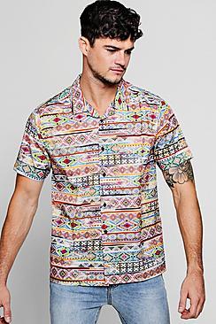 Aztec Print Short Sleeve Revere Shirt