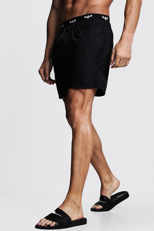 Купить Shorts, Mid Length Swim Short With Boxer Waistband, boohoo