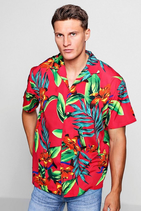 Red Tropical Print Oversized Revere Shirt