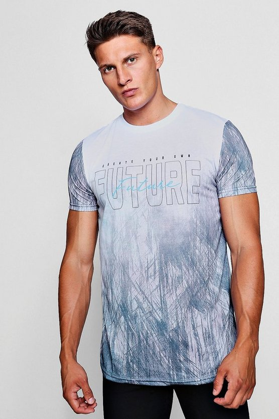 Future Slogan Longline Curved Hem T-Shirt