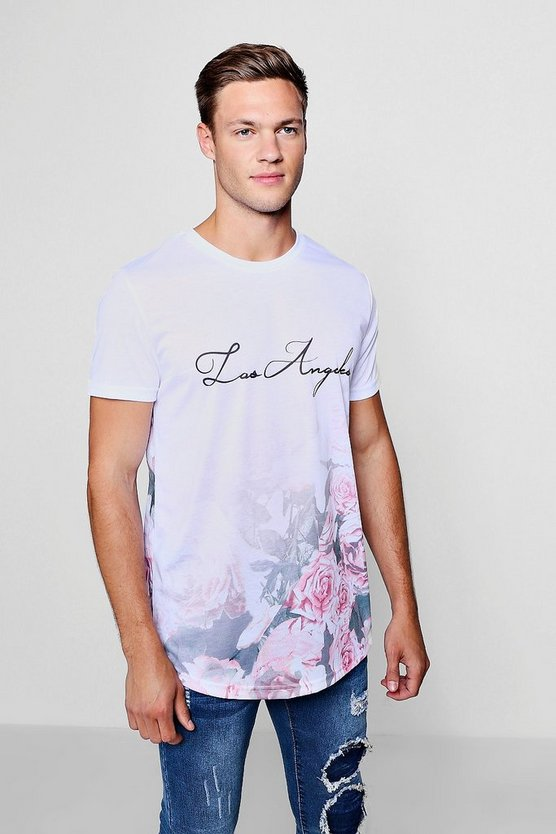 Faded Floral Los Angeles Longline Tee