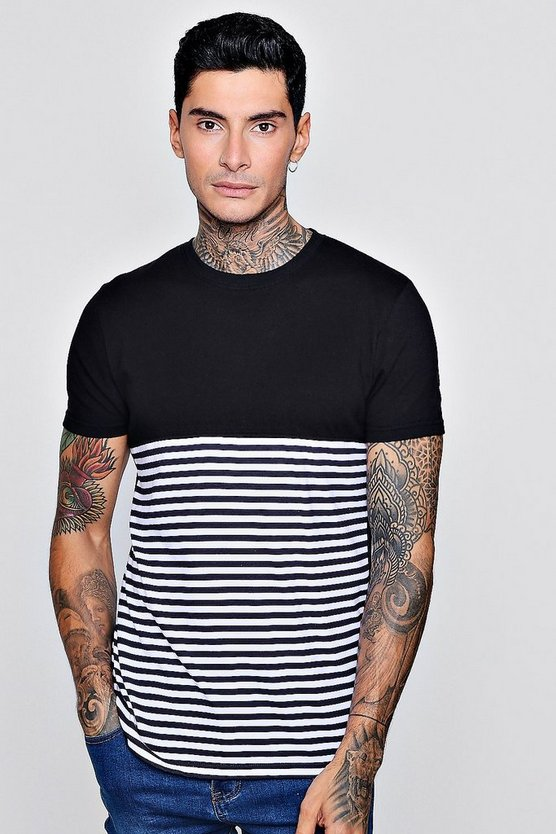 Half Stripe Short Sleeve T-Shirt